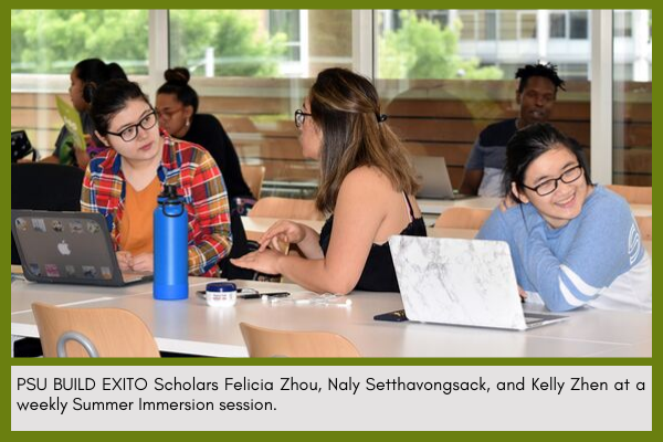 Scholars Felicia Zhou, Naly Setthavongsack, and Kelly Zhen at a weekly Summer Immersion session