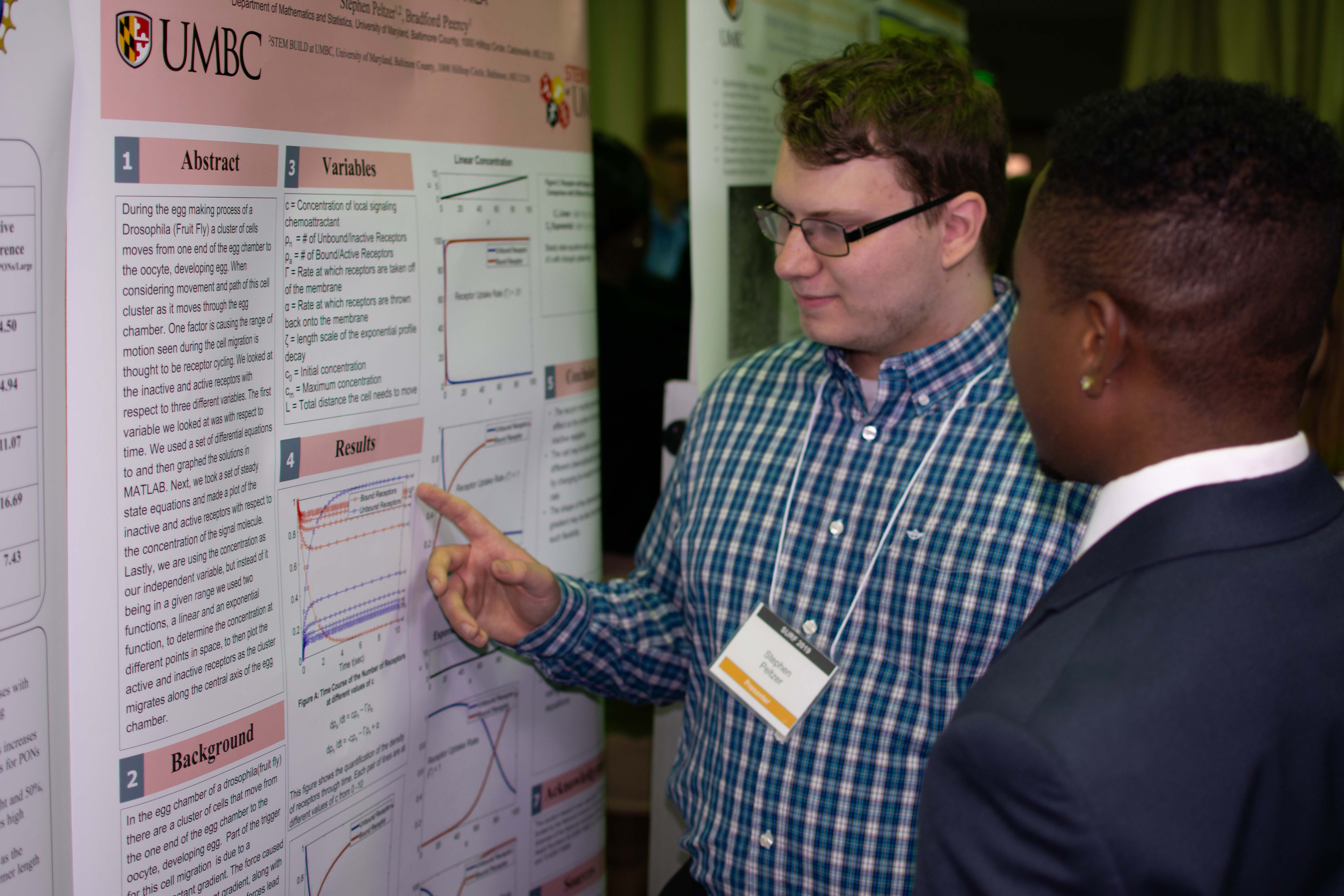 A UMBC BUILD Trainee explains his research poster to another BUILD Trainee.